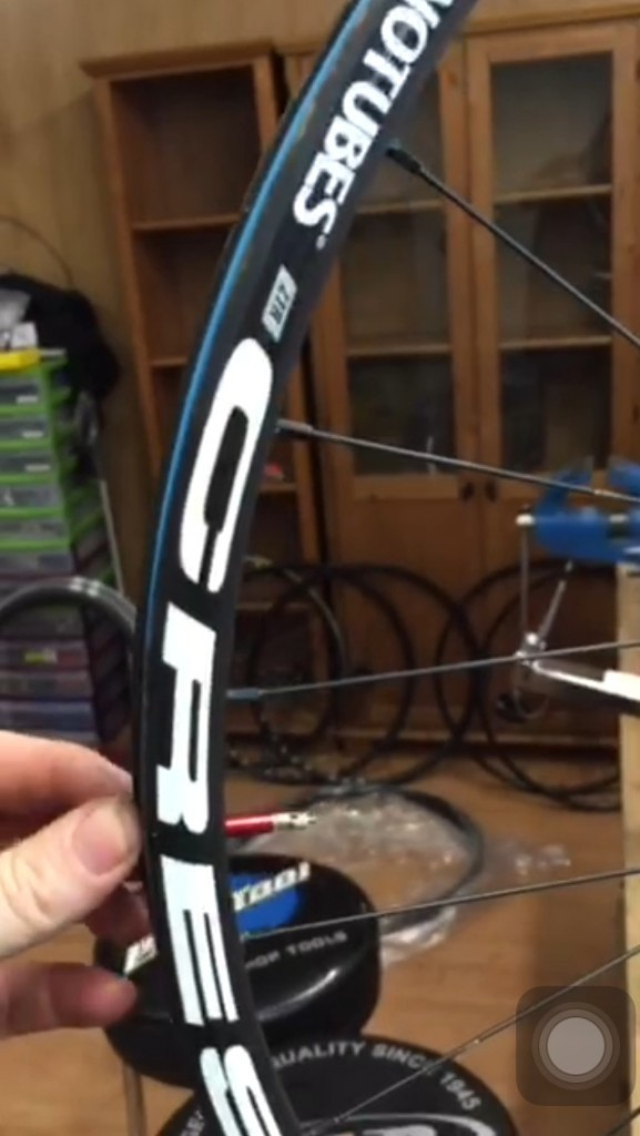 tubeless conversion with Alloy made red tubeless valve