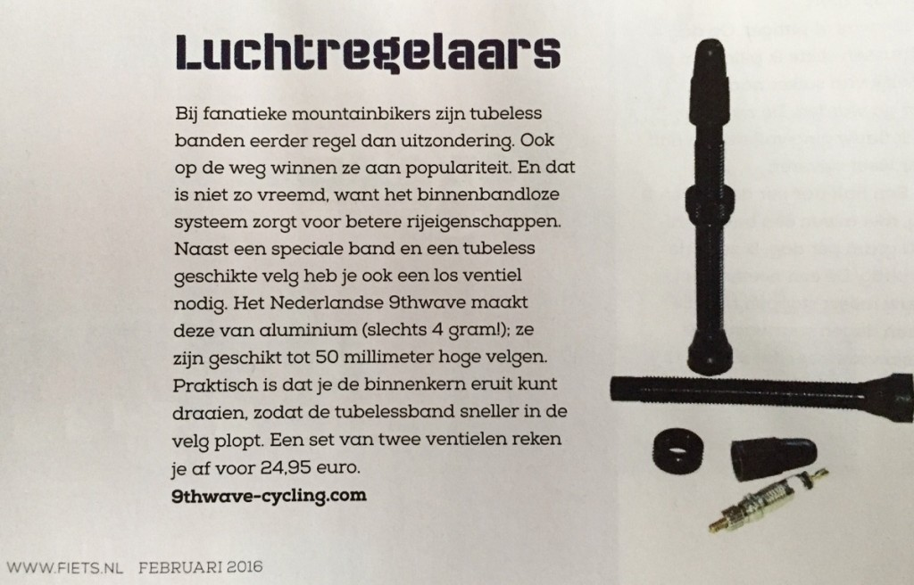 wistio tubeless valve recommend by netherlands magazine